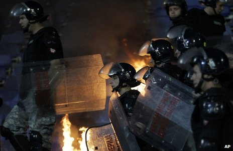 Riot police in Belgrade, 18 May