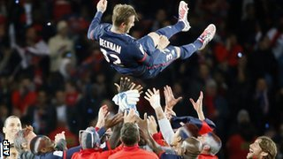 David Beckham thrown into the air by team-mates