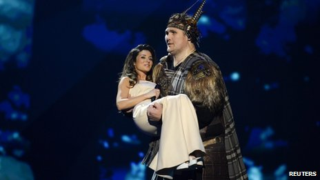 Zlata Ognevich of the Ukraine is carried on stage by Igor Vovkovinskiy to perform at the final of the 2013 Eurovision Song Contest at the Malmo Opera Hall, Malmo, Sweden, on 18 May