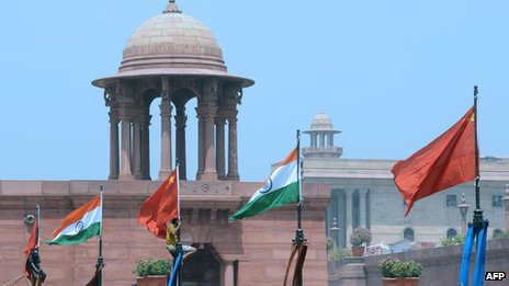 Chinese and Indian flags flie in New Delhi on 18 May 2013