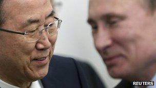Ban Ki-moon and Vladimir Putin in Sochi, Russia, on 17 May 2013
