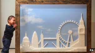 Model of London made from sugar cubes