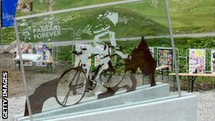 The memorial to Marco Pantani at Valloire
