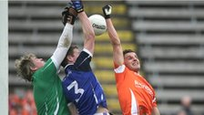 Cavan keeper Conor Gilsenan, Rory Dunne and Stephen Harold contest a high ball
