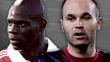 Mario Balotelli and Andres Iniesta