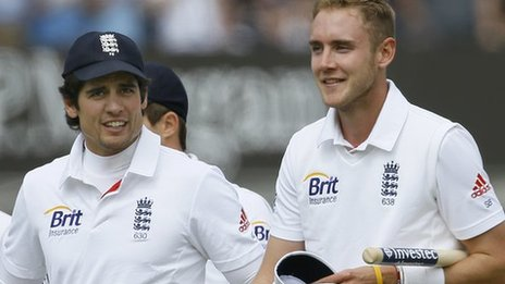 England captain Alastair Cook and paceman Stuart Broad