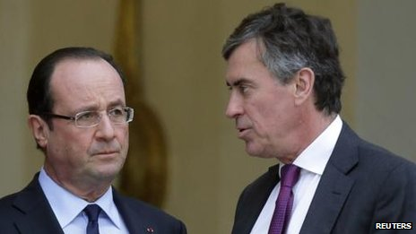 President Francois Hollande (L) and ex-minister Jerome Cahuzac (R)