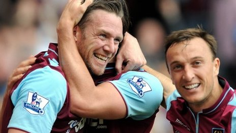West Ham United's Kevin Nolan (left) is congratulated by his team-mate after opening the scoring