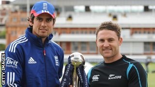 Captains Alastair Cook and Brendon McCullum
