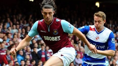 West Ham United's Andy Carroll, left, controls the ball ahead of Reading's Chris Gunter