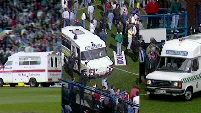 Footage shows three ambulances at Hillsborough