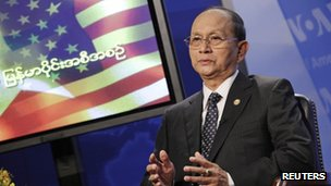 Thein Sein speaks at a town hall event at broadcast Voice of America's offices in Washington on 19 May 2013