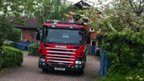 Fire engine at St Leger Court, Great Linford
