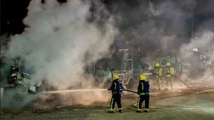 Fire involving 12 lorries and around 100 lorry tyres