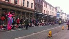 Schoolchildren at Whitehaven homecoming parade