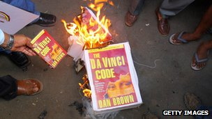 Indian Christian protestors burn a copy of The Da Vinci Code in Mumbai in 2006