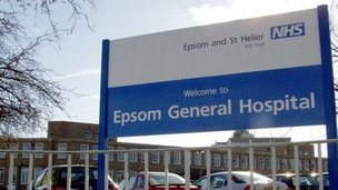 Epsom General Hospital sign