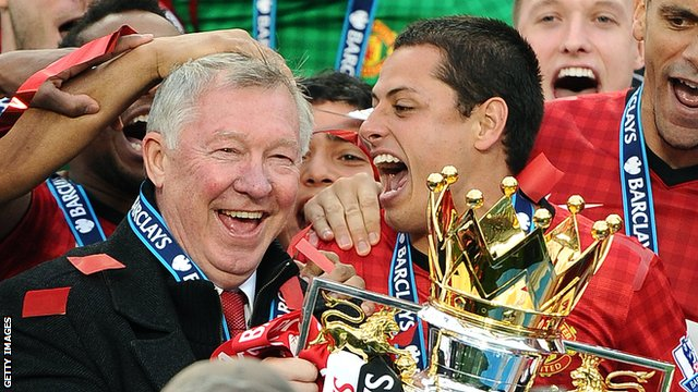 Sir Alex Ferguson celebrates the 13th Premier League title of his Manchester United reign