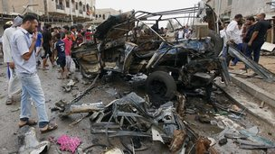 Scene of car bomb attack in the Kamaliyah neighbourhood of Baghdad on 20 May 2013