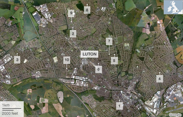 Map: Luton shootings