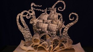 "Mythical sea creature, a ""Kraken"" created by book sculptor Justin Rowe"