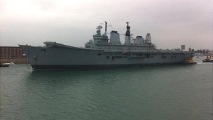 Ark Royal sailing out of Portsmouth