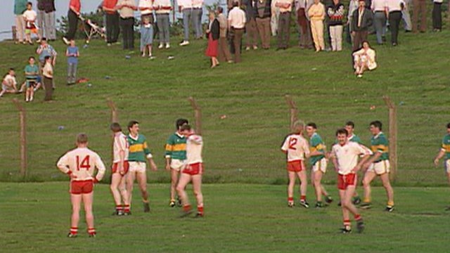 Tyrone and Donegal players at the end of the 1991 McKenna Cup final