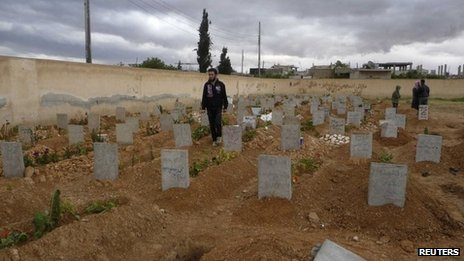 Cemetery in Qusair, Syria (20 April 2013)