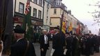Regiment standards outside St Nicholas&#039; Gardens in Whitehaven