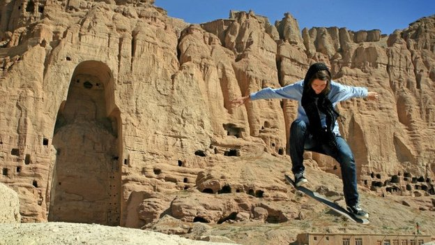 Fundraising co-ordinator Erika skating in Bamiyan, July 2010