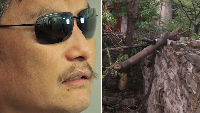 Blind Chinese dissident Chen Guangcheng and the wall he scaled to escape his homeland