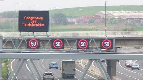 Motorway variable speed limit signs
