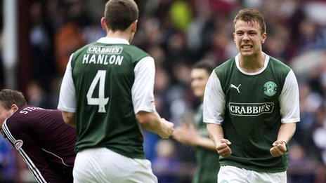 Hibs defender Paul Hanlon and team-mate Jordon Forster