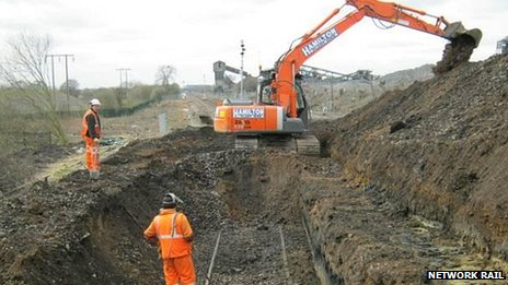 Spoil removal from landslip site