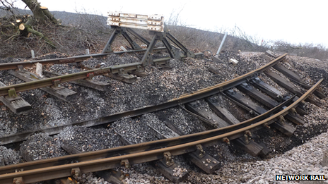 Damage at landslip site