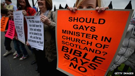Protesters at the General Assembly of the Church of Scotland