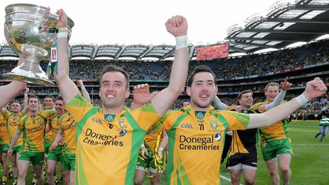 Karl Lacey and Mark McHugh celebrate Donegal's All-Ireland triumph last September