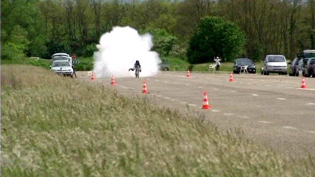 The rocket powered bike on a track