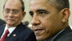Burma&#039;s Thein Sein (left) and US President Barack Obama at the White House on 20 May 2013