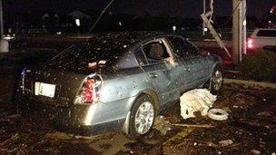 Power lines down in Moore, Oklahoma
