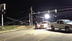 Power lines down in Oklahoma