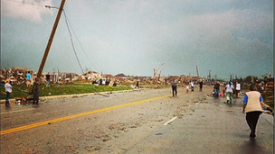 Debris on a main road in Oklahoma