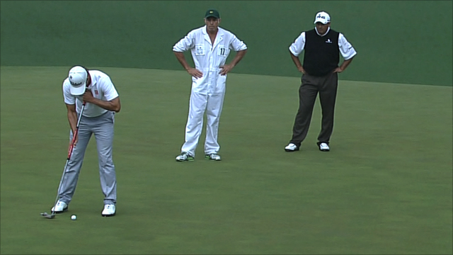 Adam Scott anchors his putter at this year's Masters