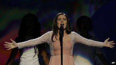 Dina Garipova sang Russia's entry at the Eurovision Song Contest, 18 May 2013