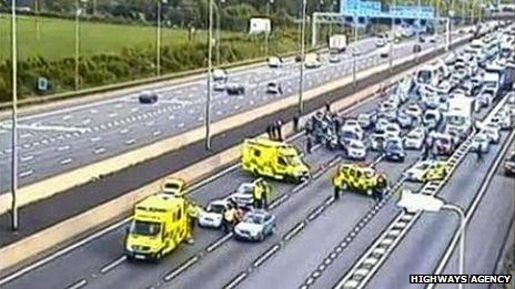 Scene of M1 incident involving George Michael