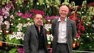 John Valin and Chris Purver at the Eric Young Orchid Foundation exhibit at Chelsea Flower Show