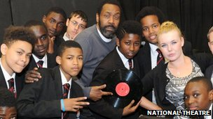 Comedian Lenny Henry visited a Woolwich College rehearsal for the Connections Festival