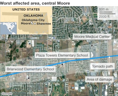 Map of Moore, Oklahoma 20 May 2013