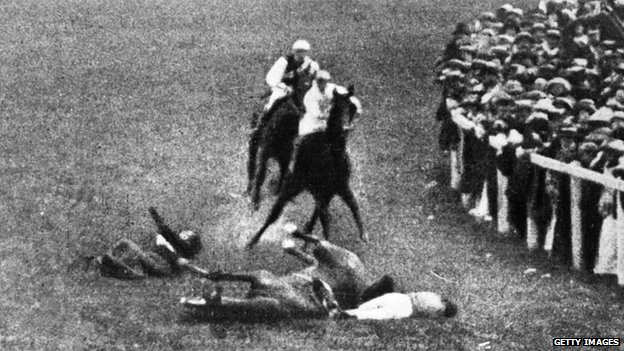 Emily Davison on the ground (left) and the King's horse Anmer and his jockey (bottom right)