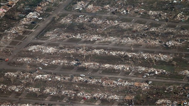 Flattened homes in Moore